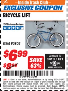 Harbor Freight ITC Coupon BICYCLE LIFT Lot No. 95803 Expired: 1/31/19 - $6.99