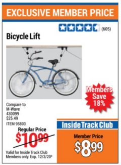Harbor Freight ITC Coupon BICYCLE LIFT Lot No. 95803 Expired: 12/3/20 - $8.99