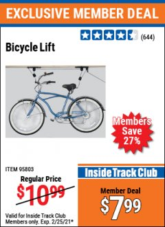 Harbor Freight ITC Coupon BICYCLE LIFT Lot No. 95803 Expired: 2/25/21 - $7.99