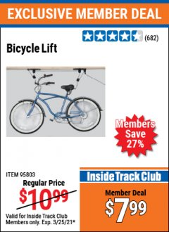 Harbor Freight ITC Coupon BICYCLE LIFT Lot No. 95803 Valid: 2/26/21 - 3/25/21 - $7.99