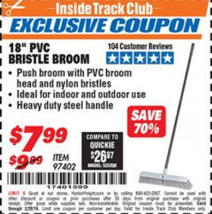 "Harbor Freight ITC Coupon 18"" PVC BRISTLE BROOM Lot No. 97402 Valid Thru: 2/28/19 - $7.99"