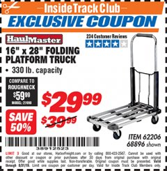 "Harbor Freight ITC Coupon 16"" x 28"" LIGHTWEIGHT FOLDING PLATFORM TRUCK Lot No. 62206/68896 Expired: 8/31/19 - $29.99"