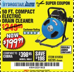Harbor Freight Coupon 50 FT. ELECTRIC DRAIN CLEANER Lot No. 68285/61856 Valid Thru: 5/4/19 - $199.99
