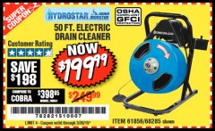 Harbor Freight Coupon 50 FT. ELECTRIC DRAIN CLEANER Lot No. 68285/61856 Valid Thru: 3/30/19 - $199.99