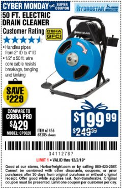 Harbor Freight Coupon 50 FT. ELECTRIC DRAIN CLEANER Lot No. 68285/61856 Expired: 12/2/19 - $199.99