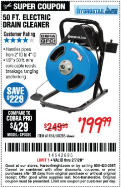 Harbor Freight Coupon 50 FT. ELECTRIC DRAIN CLEANER Lot No. 68285/61856 Expired: 2/7/20 - $199.99
