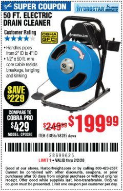 Harbor Freight Coupon 50 FT. ELECTRIC DRAIN CLEANER Lot No. 68285/61856 Expired: 2/2/20 - $199.99