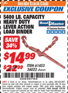 Harbor Freight ITC Coupon 5400 LB. CAPACITY HEAVY DUTY LEVEL ACTION LOAD BINDER Lot No. 61453/36022 Valid Thru: 3/31/19 - $14.99