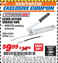 Harbor Freight ITC Coupon LEVER ACTION GREASE GUN Lot No. 1703/63686/62966 Dates Valid: 12/31/69 - 10/31/18 - $9.99
