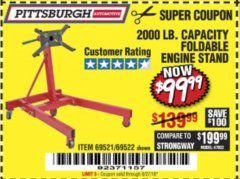 Harbor Freight Coupon 2000 LB. FOLDABLE ENGINE STAND Lot No. 69522/67015/69521 Valid Thru: 8/27/18 - $99.99