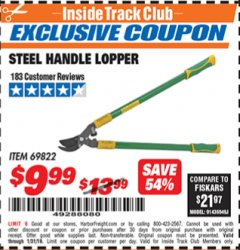 Harbor Freight ITC Coupon STEEL HANDLE LOPPER Lot No. 69822 Expired: 1/31/19 - $9.99