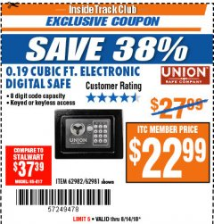 Harbor Freight ITC Coupon 0.19 CUBIC FT. ELECTRONIC DIGITAL SAFE Lot No. 62240/94985/62982/62981 Expired: 8/14/18 - $22.99