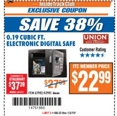 Harbor Freight ITC Coupon 0.19 CUBIC FT. ELECTRONIC DIGITAL SAFE Lot No. 62240/94985/62982/62981 Expired: 1/2/19 - $22.99