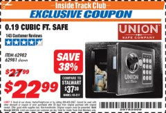 Harbor Freight ITC Coupon 0.19 CUBIC FT. ELECTRONIC DIGITAL SAFE Lot No. 62240/94985/62982/62981 Expired: 3/31/19 - $22.99