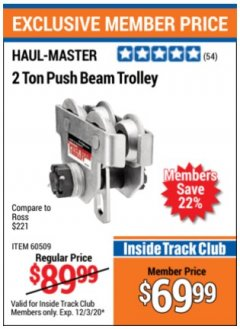 Harbor Freight ITC Coupon 2 TON PUSH BEAM TROLLEY Lot No. 40493/60509 Expired: 12/3/20 - $69.99