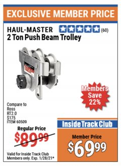 Harbor Freight ITC Coupon 2 TON PUSH BEAM TROLLEY Lot No. 40493/60509 Valid Thru: 1/28/21 - $69.99
