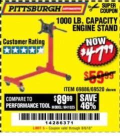 Harbor Freight Coupon 1000 LB. CAPACITY ENGINE STAND Lot No. 32916/69886/69520 Expired: 8/6/18 - $47.99