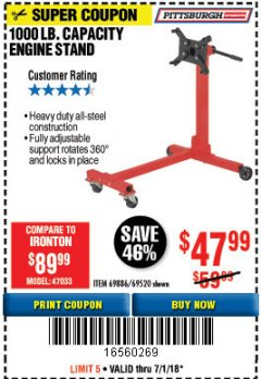 Harbor Freight Coupon 1000 LB. CAPACITY ENGINE STAND Lot No. 32916/69886/69520 Expired: 7/1/18 - $47.99