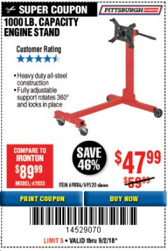 Harbor Freight Coupon 1000 LB. CAPACITY ENGINE STAND Lot No. 32916/69886/69520 Expired: 9/2/18 - $47.99