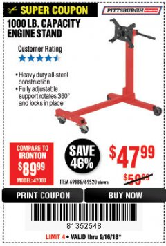 Harbor Freight Coupon 1000 LB. CAPACITY ENGINE STAND Lot No. 32916/69886/69520 Expired: 9/16/18 - $47.99