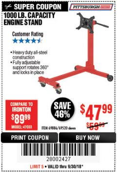 Harbor Freight Coupon 1000 LB. CAPACITY ENGINE STAND Lot No. 32916/69886/69520 Expired: 9/30/18 - $47.99