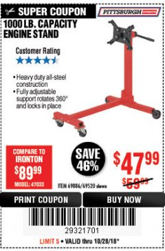 Harbor Freight Coupon 1000 LB. CAPACITY ENGINE STAND Lot No. 32916/69886/69520 Expired: 10/28/18 - $47.99