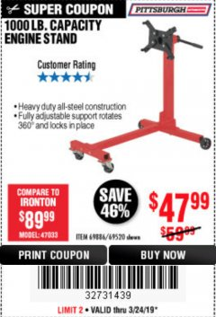 Harbor Freight Coupon 1000 LB. CAPACITY ENGINE STAND Lot No. 32916/69886/69520 Expired: 3/24/19 - $47.99