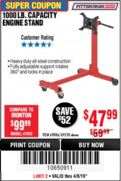 Harbor Freight Coupon 1000 LB. CAPACITY ENGINE STAND Lot No. 32916/69886/69520 Valid Thru: 4/30/19 - $47.99