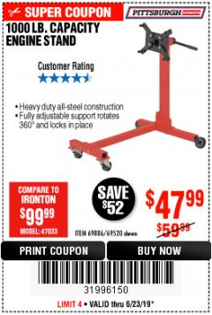 Harbor Freight Coupon 1000 LB. CAPACITY ENGINE STAND Lot No. 32916/69886/69520 Expired: 6/23/19 - $47.99