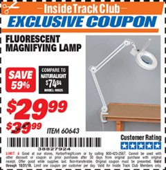 Harbor Freight ITC Coupon FLUORESCENT MAGNIFYING LAMP Lot No. 60643 Expired: 10/31/18 - $29.99