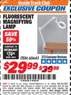 Harbor Freight ITC Coupon FLUORESCENT MAGNIFYING LAMP Lot No. 60643 Valid Thru: 2/28/19 - $29.99