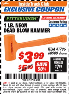 Harbor Freight ITC Coupon 1 LB. NEON DEAD BLOW HAMMER Lot No. 41796/68980 Expired: 9/30/18 - $3.99