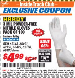 Harbor Freight ITC Coupon POWDER-FREE NITRILE GLOVES PACK OF 100 3 MIL. THICKNESS Lot No. 68490/62143/68491/62151/68492/62150 Expired: 5/31/18 - $4.99