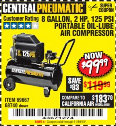 Harbor Freight Coupon 2 HP, 8 GALLON 125 PSI PORTABLE AIR COMPRESSOR Lot No. 67501/68740/69667 Expired: 11/10/18 - $99.99