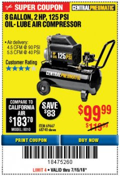Harbor Freight Coupon 2 HP, 8 GALLON 125 PSI PORTABLE AIR COMPRESSOR Lot No. 67501/68740/69667 Expired: 7/15/18 - $99.99