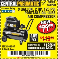 Harbor Freight Coupon 2 HP, 8 GALLON 125 PSI PORTABLE AIR COMPRESSOR Lot No. 67501/68740/69667 Expired: 11/18/18 - $99.99