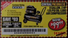 Harbor Freight Coupon 2 HP, 8 GALLON 125 PSI PORTABLE AIR COMPRESSOR Lot No. 67501/68740/69667 Valid Thru: 12/22/18 - $99.99