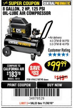 Harbor Freight Coupon 2 HP, 8 GALLON 125 PSI PORTABLE AIR COMPRESSOR Lot No. 67501/68740/69667 Expired: 11/30/18 - $99.99