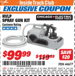 Harbor Freight ITC Coupon HIGH VOLUME LOW PRESSURE SPRAY GUN KIT Lot No. 44677 Expired: 10/31/18 - $99.99