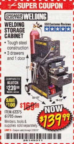 Harbor Freight Coupon WELDING STORAGE CABINET Lot No. 61705/62275 EXPIRES: 2/28/19 - $139.99