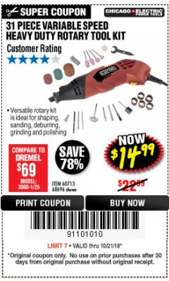 Harbor Freight Coupon 31 PIECE HEAVY DUTY VARIABLE SPEED ROTARY TOOL KIT Lot No. 68696/60713 Expired: 10/21/18 - $14.99