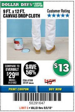 Harbor Freight Coupon 9 FT. x 12 FT. CANVAS DROP CLOTH Lot No. 69308/38109 Expired: 8/5/18 - $13