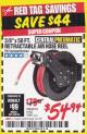 "Harbor Freight Coupon RETRACTABLE AIR HOSE REEL WITH 3/8"" x 50 FT. HOSE Lot No. 93897/69265/62344 Expired: 1/31/18 - $54.94"