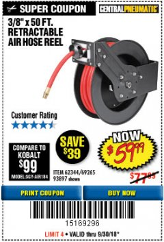 "Harbor Freight Coupon RETRACTABLE AIR HOSE REEL WITH 3/8"" x 50 FT. HOSE Lot No. 93897/69265/62344 Expired: 9/30/18 - $59.99"