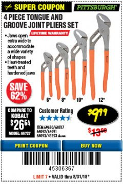Harbor Freight Coupon 4 PIECE TONGUE AND GROOVE JOINT PLIERS SET Lot No. 60817/69376/69680/43553 Expired: 8/31/18 - $9.99