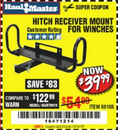 Harbor Freight Coupon HITCH RECEIVER MOUNT FOR WINCHES Lot No. 66409/69106 Expired: 10/14/19 - $39.99