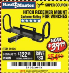 Harbor Freight Coupon HITCH RECEIVER MOUNT FOR WINCHES Lot No. 66409/69106 Expired: 10/21/19 - $39.99