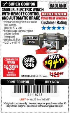 Harbor Freight Coupon 3500 LB. ELECTRIC WINCH WITH REMOTE CONTROL AND AUTOMATIC BRAKE Lot No. 68145/61383/61604/61257 Expired: 10/21/18 - $94.99
