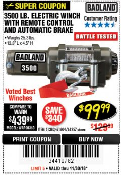 Harbor Freight Coupon 3500 LB. ELECTRIC WINCH WITH REMOTE CONTROL AND AUTOMATIC BRAKE Lot No. 68145/61383/61604/61257 Expired: 11/30/18 - $99.99