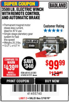 Harbor Freight Coupon 3500 LB. ELECTRIC WINCH WITH REMOTE CONTROL AND AUTOMATIC BRAKE Lot No. 68145/61383/61604/61257 Expired: 2/18/19 - $99.99